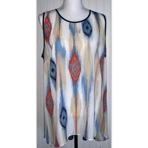 The Limited XL Multicolor Navy Sheer Back Tunic